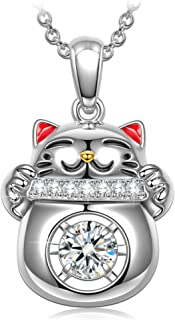✦Lucky Cat✦ Women Christmas Necklace Gifts Necklace for Women Cubic Zircon Necklace Fine Jewelry with Enamel Craft and Beautiful Packaging