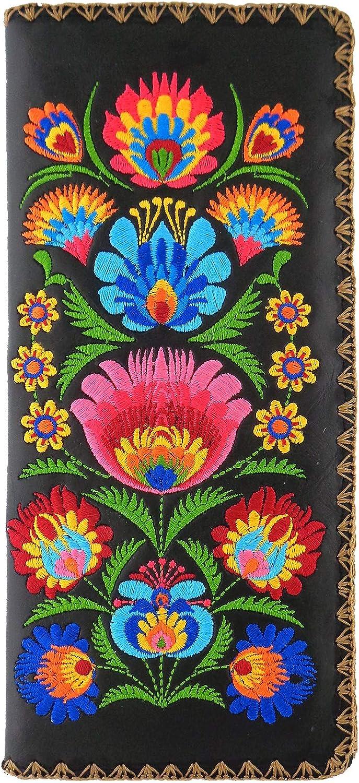 LAVISHY Bohemiand Style Flora Pattern Embroidered Vegan Large Flat Wallet- (Black)