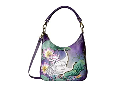 Anuschka Handbags Convertible Slim Hobo with Crossbody Strap 662 (Peaceful Garden) Handbags