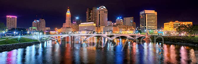 Columbus Skyline PHOTO PRINT UNFRAMED NIGHT Color City Downtown 11.75 inches x 36 inches..