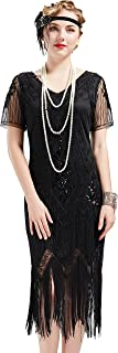 1920s Art Deco Fringed Sequin Dress 20s Flapper Gatsby Costume Dress