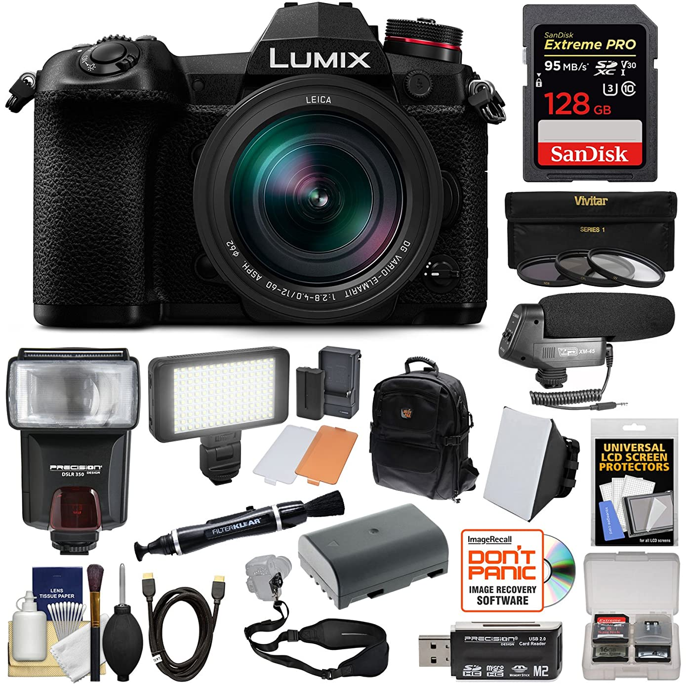 Panasonic Lumix DC-G9 4K Wi-Fi Digital Camera & 12-60mm f/2.8-4.0 Lens with 128GB Card + Battery + Backpack + Flash + LED Video Light + Microphone Kit