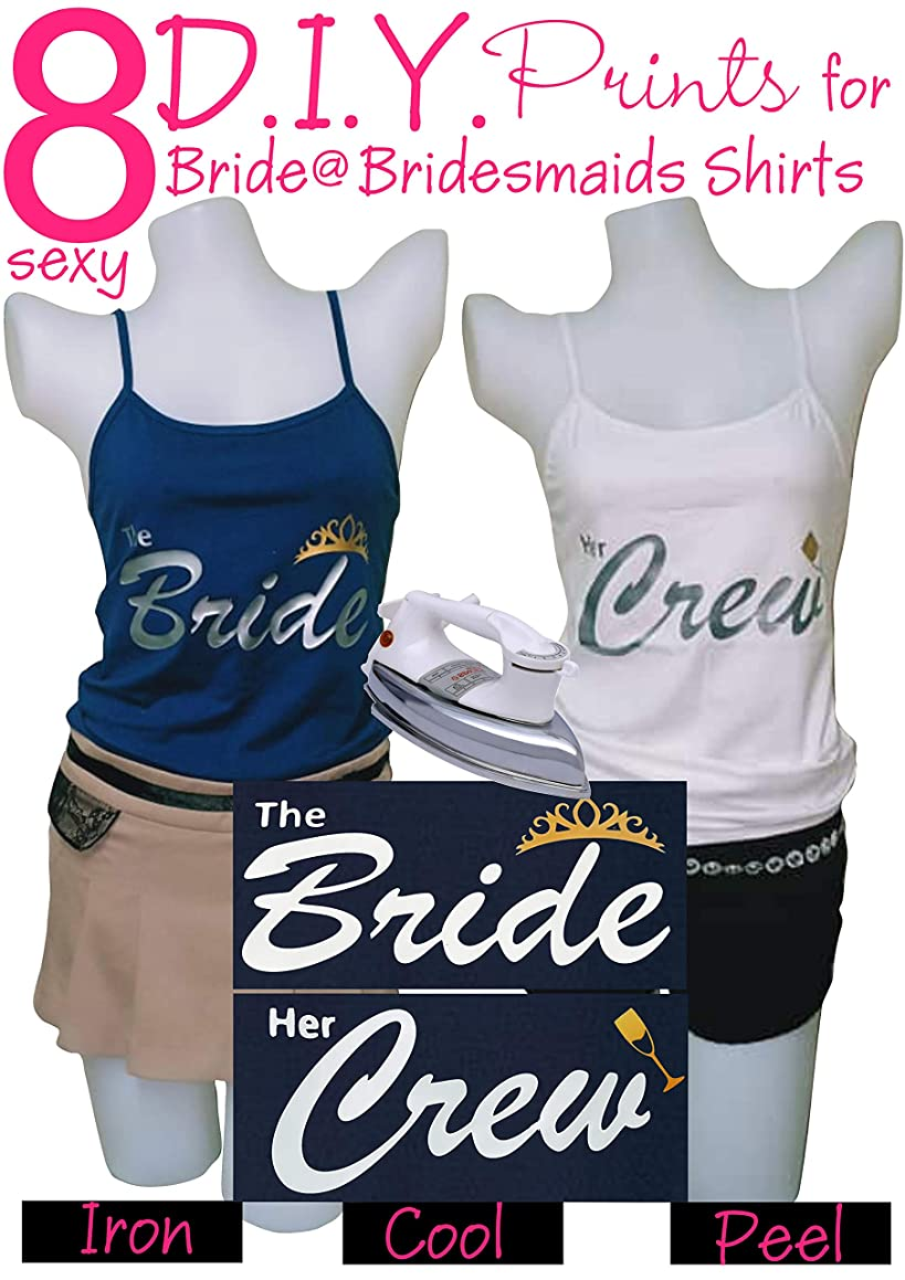 Bridesmaid Shirts | Hen Night Accessories | Bride Iron On Heat Transfer - 8pcs Silver Prints for Bride and Bridesmaid, Bridal Shower, Bride Squad, Bachelorette Party or Wedding Day Shirts - Savings
