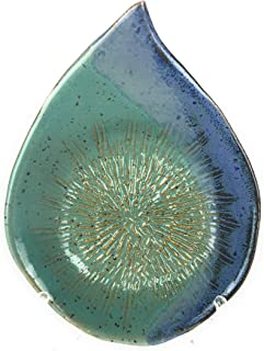 Ceramic Garlic Grater and Oil Dipping Dish Handmade in the USA with BONUS Display Stand Turquoise with Blue Ginger Grater