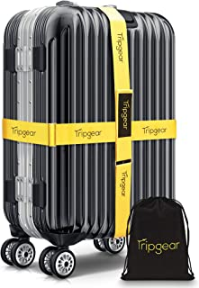 Premium Luggage Strap - Luggage Belt with extra strong Fastener (Yellow - 2pcs + velvet bag)