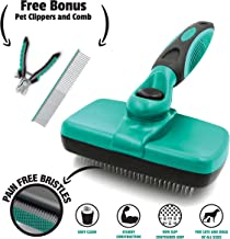 Ruff 'N Ruffus Pet Grooming Kit for Cats and Dogs, 3-Piece Set with Self-Cleaning Slicker Brush, Steel Finishing Comb, and Pet Nail Clippers, Groomer Supplies for All Breeds and Hair Types
