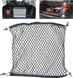 Tusenpy Universal Auto Netz mit 4 Haken, Behoben Kofferraumnetz Gepäcknetz, Flexibler elastischer Nylon Gepäckraum Organizer für die Meisten Fahrzeugtypen, 100 * 100 cm (Schwarz)
