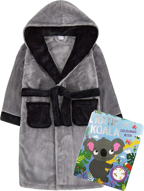 Metzuyan Kids Childrens Girls Boys Dressing Gown Bath Robe Hood Pockets Grey Plain Activity Colouring Book