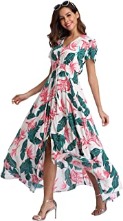 fb10ef9c7f VintageClothing Women's Floral Maxi Dresses Boho Button Up Split Beach  Party Dress
