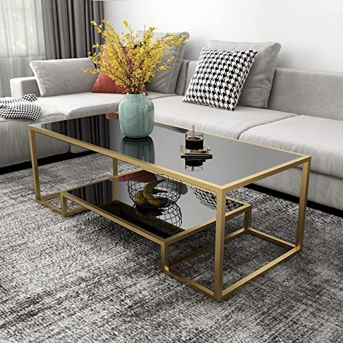 high quality Glass Coffee Table, Gold Accent Modren lowest Tempered Glass Side Table, Additional Storage Shelf & Metal Frame, for Living Room Home Classy lowest Furniture Office Decor outlet online sale