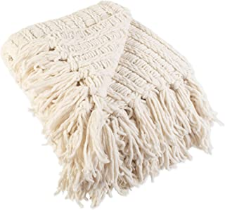J & M Home Fashions Chenille Luxury Thick Woven Throw with Fringe, 50x60, Cream