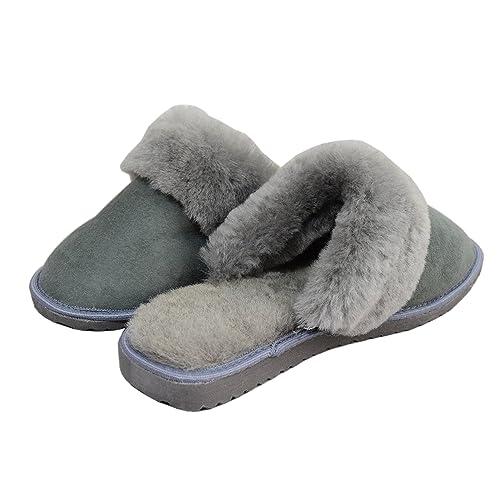 9ce39aa249ea Dark Womens Luxury Lightweight Handmade Genuine 100% Sheepskin Slippers  Mules with Sheep s Fur Lining