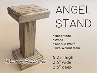 ANGEL STAND Antique White Wood - BABY MANGER Walnut -Compatible Accessories to fit our handmade wooden stable (figures and stable are not included) - STABLE Creche Distressed Rustic *Handmade in USA