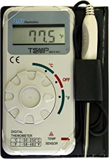 HM Digital TM-1 Industrial Grade Digital Celsius and Fahrenheit Thermometer, -50 to +250 Degree C / -58 to +482 Degree F Temperature Range, Stainless Steel Probe, 20