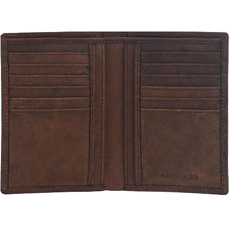 Amazon Brand - Eono - Cartera de Cuero para Mujer y Hombre con diseño Plano y protección contra Lectura RFID (marrón Vintage/Cuero de Aspecto gastado) (Cuero marrón Vintage/Aspecto Usado)