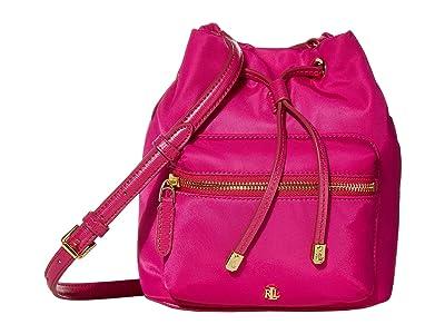 LAUREN Ralph Lauren Dryden Drawstring Soft Nylon Debby II Mini (Deep Fuchsia) Handbags