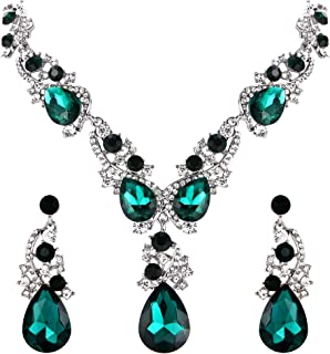 BriLove Women's Wedding Bridal Crystal Multi Teardrop Cluster Statement Necklace Dangle Earrings Set