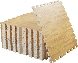 LUVODI Vloer in elkaar grijpende schuimmatten, 60 x 60 cm zachte schuimvloeren, tegels, houtnerf, puzzel, vloertegels voor...
