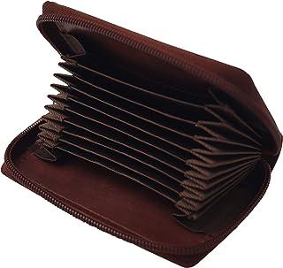 GERMANUS Tarjetero de piel con cremallera, color marrón oscuro