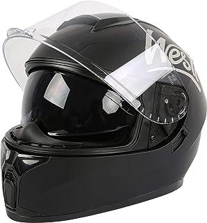 Westt Torque Flip Up - Casco de Moto con Doble Visera, Color Negro Mate