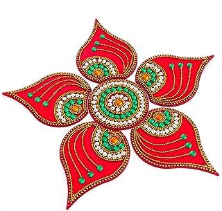 KRIWIN® Handicraft Acrylic Rangoli,Red Color - 10 Inch Dia - 6 Piece Set (Red)