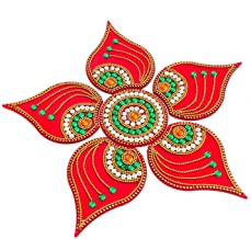 KRIWIN® Handicraft Designer Rangoli,Red Color - 10 Inch Dia - 6 Piece Set (Red)