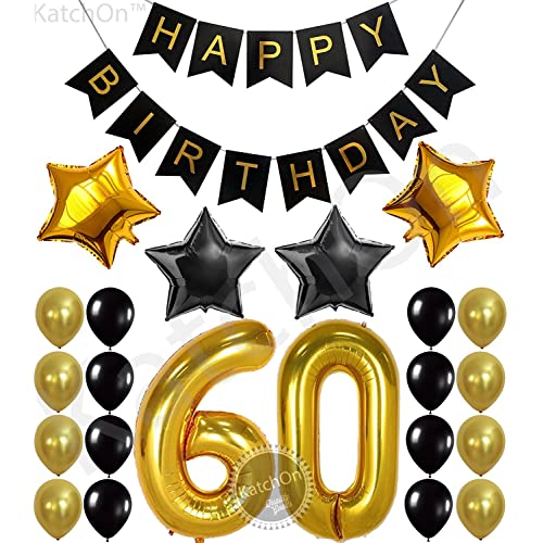 KatchOn 60th Birthday Party Decorations KIT - Happy Birthday Black Banner, 60th Gold Number Balloons,Gold and Black, Number 60, Perfect 60 Years Old Party Supplies,Free Bday Printable Checklist