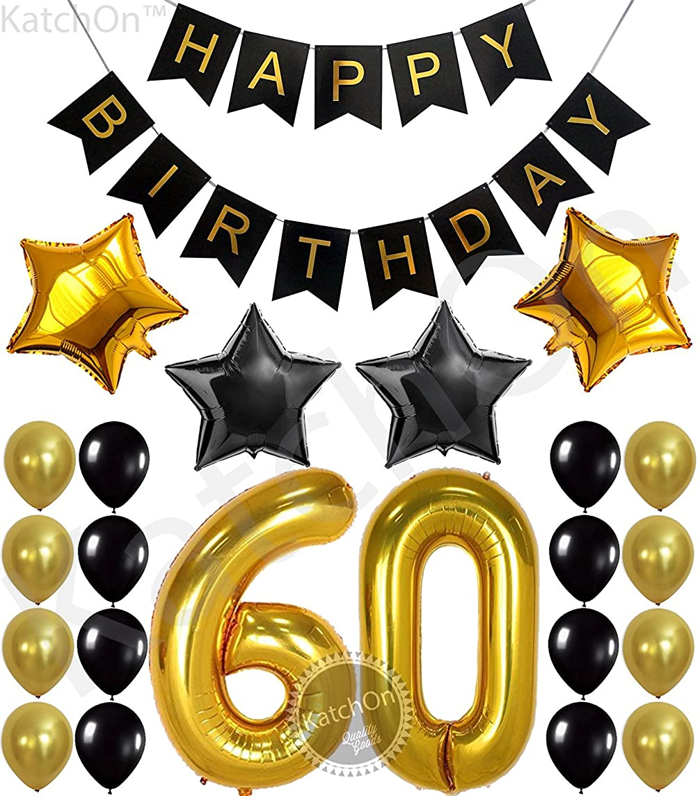 60th BIRTHDAY PARTY DECORATIONS KIT - Happy Birthday Black Banner, 60th Gold Number Balloons,Gold and Black, Number 60, Perfect 60 Years Old Party Supplies,Free Bday Printable Checklist