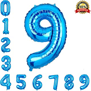 40 Inch Number Balloons Blue Number 9 Helium Foil Birthday Party Decorations Digit Balloons