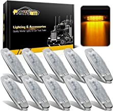 Partsam Pack10 Sealed Peterbilt-style 12 Amber LED Diode Side Marker Clearance Lamp Clear Lens Surface Mount, 2 rows of 6 diodes, Stainless Trim