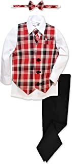 Boys Formal Plaid Dresswear Vest Set
