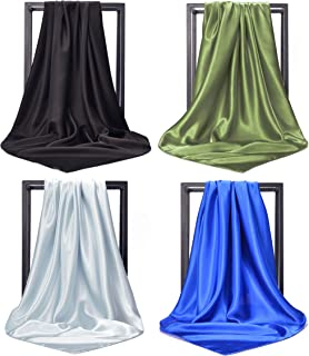 NUWEERIR 4pc Mixed Womens Large Square Scarf Set Silk Feeling Satin Hair Wrapping 35x35 inches