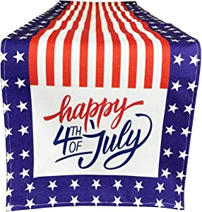 American Flag Happy 4th of July Patriotic Table Runner, Independence Day Tablecloth Kitchen Dining Table Linen for Indoor Outdoor Home Party Decor