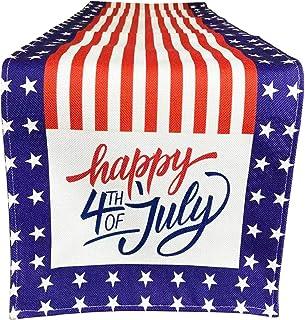 العلم الأمريكي سعيد الرابع من يوليو العلم الوطني عداء الطاولة، عيد الاستقلال طاولة المطبخ الطعام كتان للاستخدام في الأماكن...