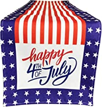 American Flag Happy 4th of July Patriotic Table Runner, Independence Day Tablecloth Kitchen Dining Table Linen for Indoor ...