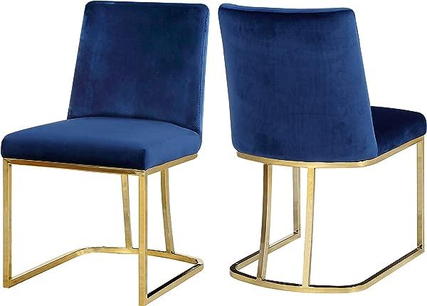 子午线家具 776 海军蓝 C 海蒂系列海军蓝现代天鹅绒软垫餐椅,配有抛光金色金属框架 2 件套 19 W X 23 D X 32 H