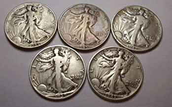 Count of 5 - Walking Liberty Half Dollar 5 Different Dates F/VF 90% Silver Fine to Extra Fine