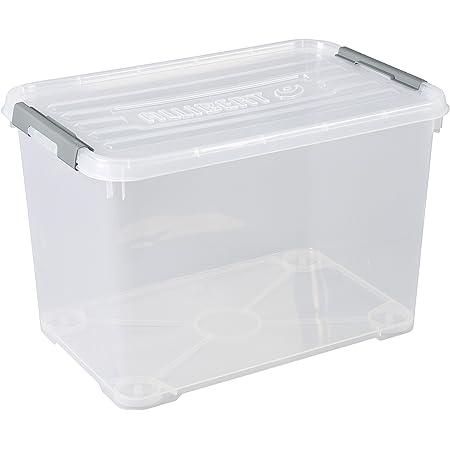 CURVER   Boîte de rangement Handy box Plus 65L + clips Gris avec couvercle, Transparent, 60 x 40 x 38,8 cm, Plastique