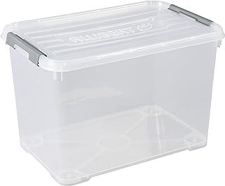 CURVER | Boîte de rangement Handy box Plus 65L + clips Gris avec couvercle, Transparent, 60 x 40 x 38,8 cm, Plastique