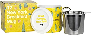 T2 Tea H210BC949 Iconic Fine Bone China Mug with Stainless Steel Infuser, New York Breakfast (400ml / 13.5floz), 400 milliliters