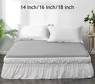 AYASW Bed Skirt 18 Inch Drop Dust Ruffle Three Fabric Sides with Elastic No Top (Queen, White)