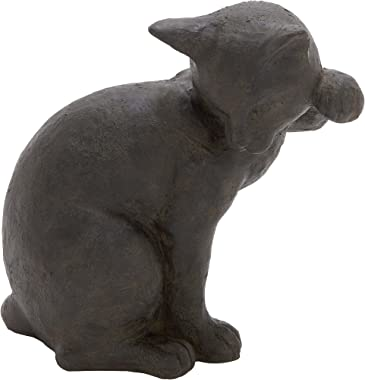 Deco 79 Poly-Stone Cat, 11 by 11-Inch