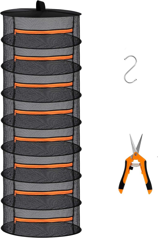 Desy & Feeci Rejilla para Platos Colgante de Malla con Cremallera Naranja (8 Niveles)