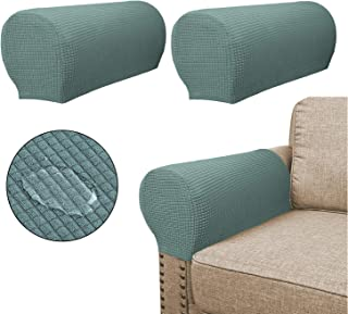 Sofa Arm Covers(2 Pieces Set) - Water Repellent,Anti-Slip,High Stretch,Knitted Jacquard - Couch Armrest Slipcover/Protector/Shield for Dog Cat Pets(Sage)
