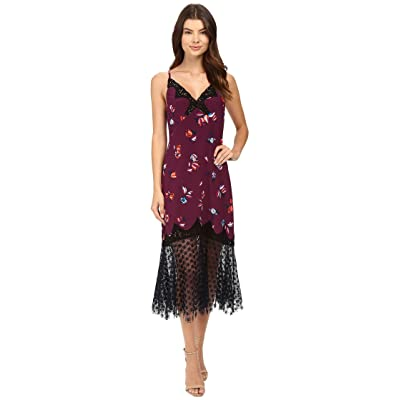 Rebecca Taylor Bellflower Print Slip Dress (Plum Combo) Women