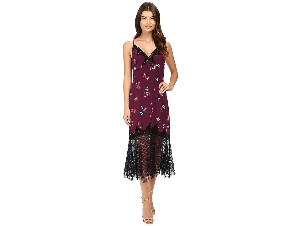 Rebecca Taylor Bellflower Print Slip Dress (Plum Combo) Women