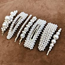Cholet (Silver) Pearl Hair Clips, Fashion Hair Accessories for Women, Girls - 7pcs - Big Pearl Hair Pins Decorative - Barrettes for Styling, Party, Birthday, Bridal – Bobby, Alligator, Snap Clip