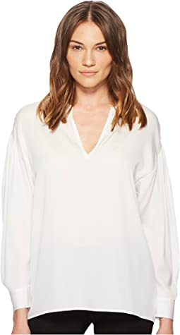 Vince - Ruched Split Neck Blouse