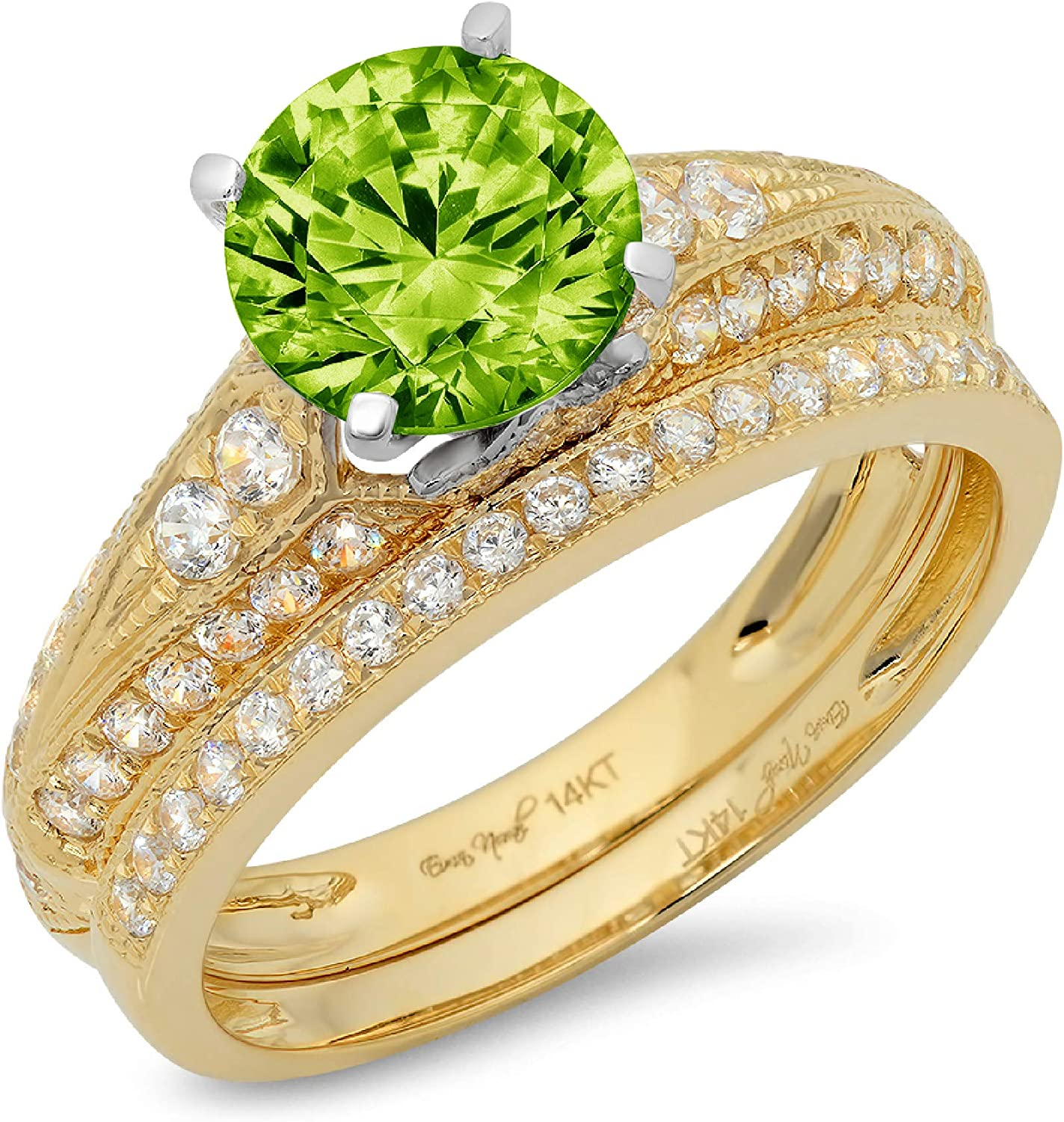2.07ct Round Cut Pave Solitaire with Accent Genuine Natural Pure Green Peridot Designer Statement Classic Ring Band Set Solid 14k 2 Tone Gold