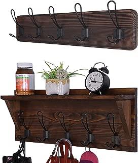 Set of 2 Entryway Coat Rack Wall Mounted with Shelf Rustic Coat Hooks Wall Mounted Wood Hanging Coat Rack Farmhouse Hooks